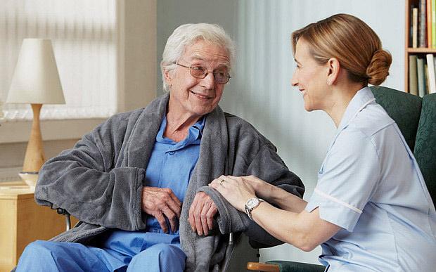 home carer with elderly man